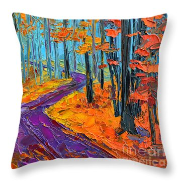 Throw Pillow featuring the painting Autumn Forest And Purple Path - Orange Red Foliage - Modern Impressionist Knife Palette by Patricia Awapara