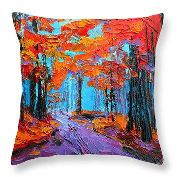 Throw Pillow featuring the painting Autumn Forest, Purple Path, Modern Impressionist, Palette Knife Painting by Patricia Awapara