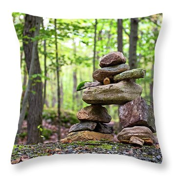 Forest Inukshuk Throw Pillow