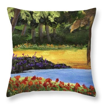 Throw Pillow featuring the painting Forest Lake by Jamie Frier