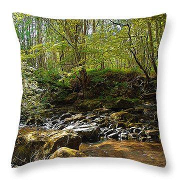 Forest Landscape Throw Pillow by Svetlana Sewell