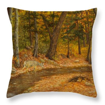Forest Life Throw Pillow by Roena King