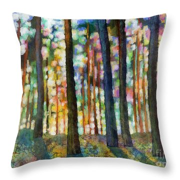 Throw Pillow featuring the painting Forest Light by Hailey E Herrera