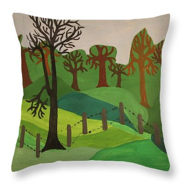 Throw Pillow featuring the painting Forest Moderna by Erika Chamberlin