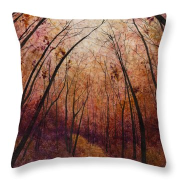 Throw Pillow featuring the painting Forest Path by Hailey E Herrera