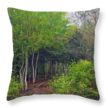 Forest Path Leading Into The Forest Throw Pillow