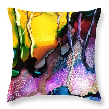 Throw Pillow featuring the painting Forest People by Suzanne Canner