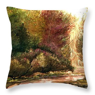 Throw Pillow featuring the painting Forest Puddle by Mikhail Savchenko