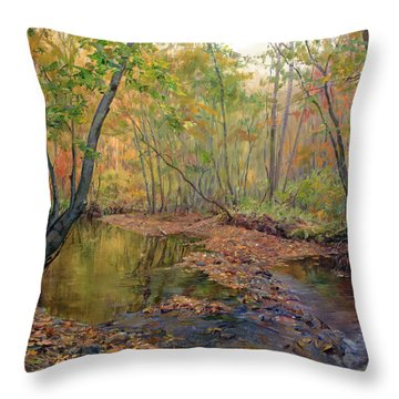 Forest River In Early Fall Throw Pillow