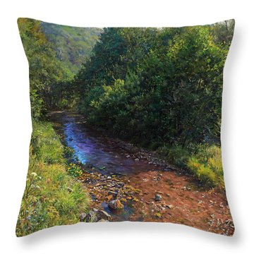 Forest River Summer Day Throw Pillow