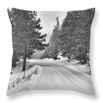 Forest Road In The Snow Throw Pillow