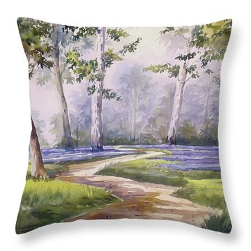Throw Pillow featuring the painting Forest  by Samiran Sarkar