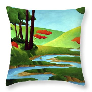 Forest Stream - Through The Forest Series Throw Pillow by Richard Hoedl