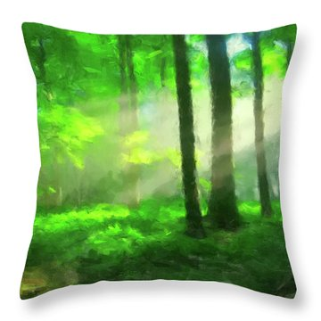 Forest Sunlight Throw Pillow