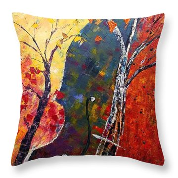 Forest Symphony Throw Pillow by AmaS Art