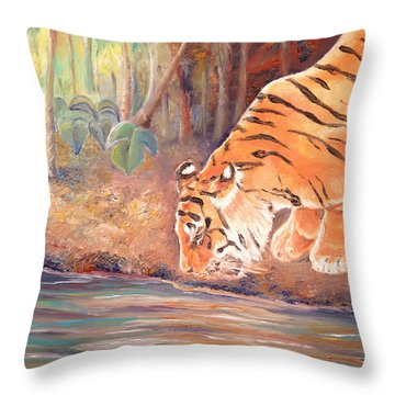 Throw Pillow featuring the painting Forest Tiger by Elizabeth Lock