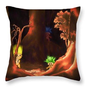Forest Trolls Throw Pillow