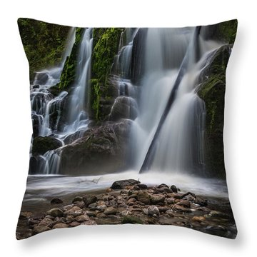 Forest Waterfall Throw Pillow by Chris McKenna