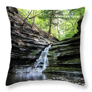 Throw Pillow featuring the photograph Forest Waterfall by MGL Meiklejohn Graphics Licensing