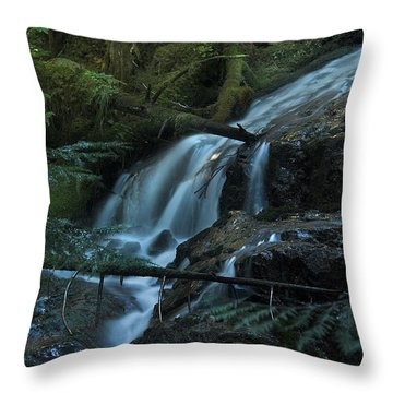 Forest Waterfall. Throw Pillow