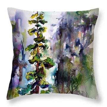 Forest With Redwood Trees Throw Pillow