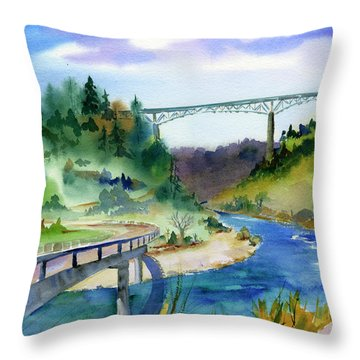 Foresthill Bridge #2 Throw Pillow
