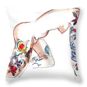 Throw Pillow featuring the mixed media Forever Amber - Tattoed Nude by Carolyn Weltman
