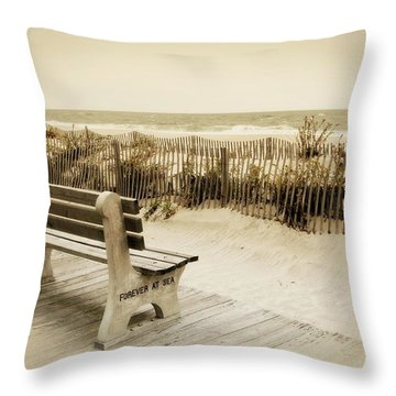 Throw Pillow featuring the photograph Forever At Sea - Jersey Shore by Angie Tirado