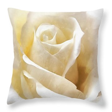 Throw Pillow featuring the photograph Forever More - Ivory Rose by Janine Riley