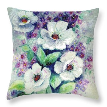 Forget-me-knots And Roses Throw Pillow by Hazel Holland