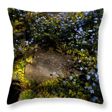 Throw Pillow featuring the painting Forget-me-nots 1 by Renate Nadi Wesley