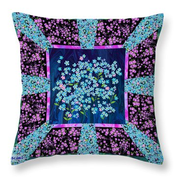 Forget Me Nots Fabric By Clothworks Throw Pillow