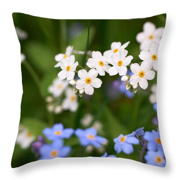 Forget Me Nots Throw Pillow by Jouko Lehto
