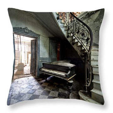 Forgotten Ancient Piano - Urban Exploration Throw Pillow