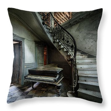 The Sound Of Decay - Abandoned Piano Throw Pillow by Dirk Ercken