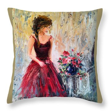 Throw Pillow featuring the painting Forgotten Rose by Jennifer Beaudet