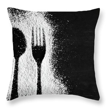 Fork And Spoon Silhouette In Icing Sugar Throw Pillow