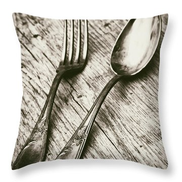 Fork And Spoon Throw Pillow
