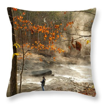 Fork River In Fall Throw Pillow