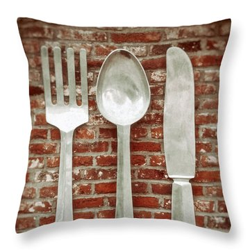 Fork Spoon Knife Throw Pillow by Wim Lanclus