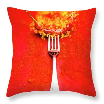 Forking Hot Food Throw Pillow