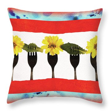 Throw Pillow featuring the digital art Forks And Flowers by Paula Ayers