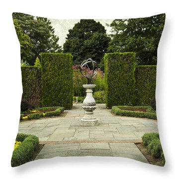 Quiet Garden Space At Niagara Falls Botanical Gardens Throw Pillow