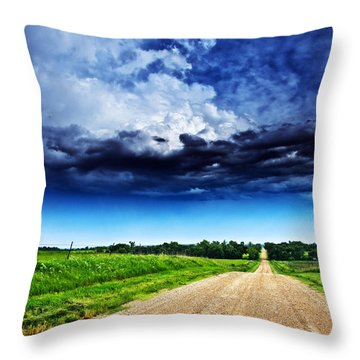 Forming Clouds Over Gravel Throw Pillow