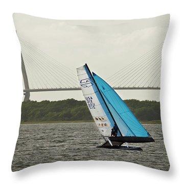 Formula 18 Sailing Cat Big Booty Charleston Sc Throw Pillow by Dustin K Ryan