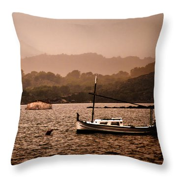 Fornells Bay In Menorca Island - Even Most Beautiful Places Have Secrets To Hide By Pedro Cardona Throw Pillow