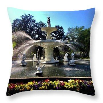 Forsyth Fountain In Spring Throw Pillow