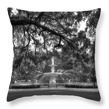 Forsyth Park Fountain 2 Savannah Georgia Art Throw Pillow by Reid Callaway