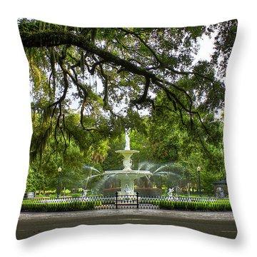 Forsyth Park Fountain Historic Savannah Georgia Throw Pillow