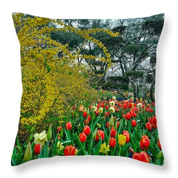 Throw Pillow featuring the photograph Forsythia Tulips And Daffadils by Diana Mary Sharpton